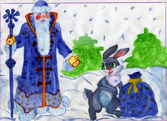 Детские рисунки о новом годе