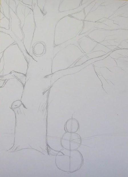 Нарисовать поэтапно зиму карандашом поэтапно для начинающих 104