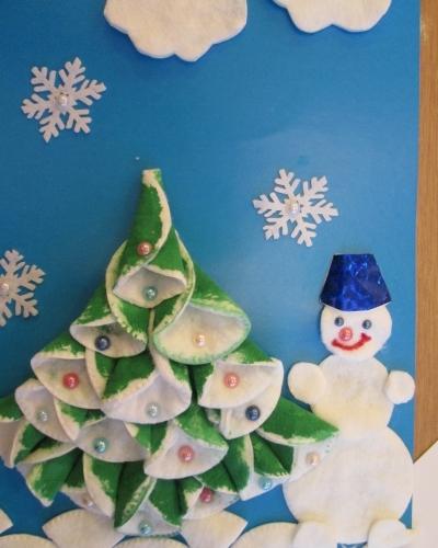 Поделки на новый год из ватных дисков и палочек