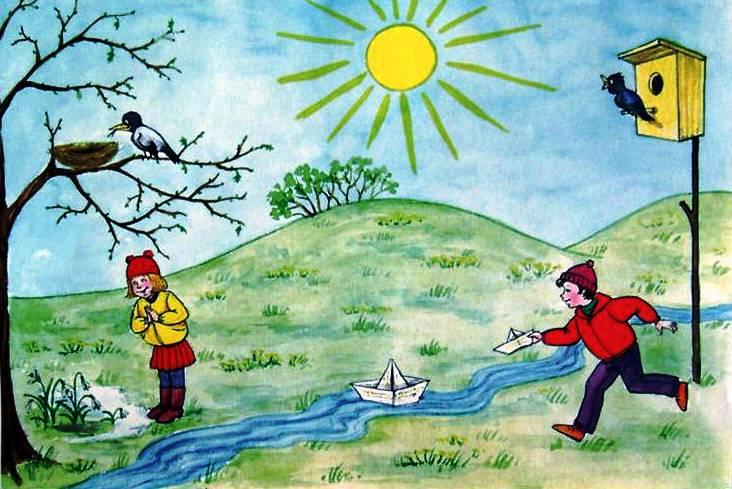 Картинки карандашом приход весны