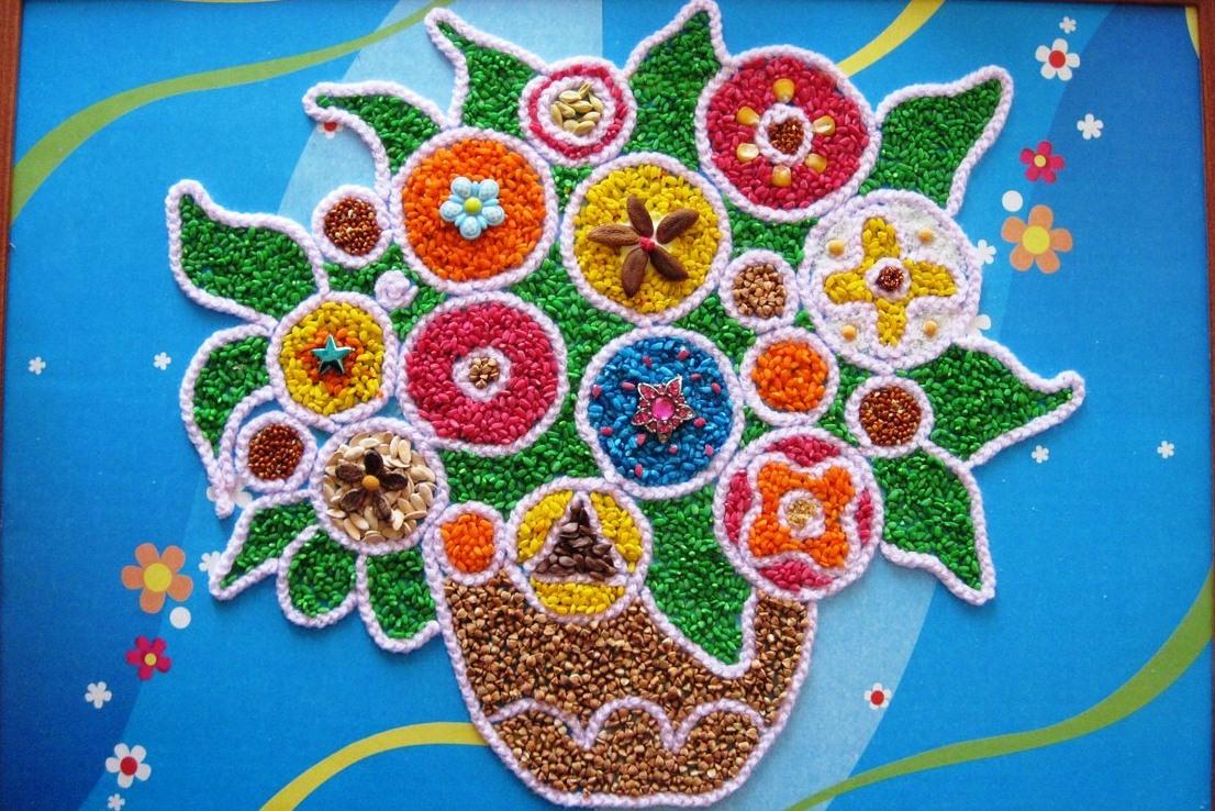 Картины из круп и семян своими руками поделки для детей