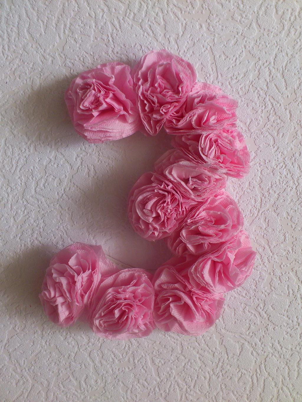 Цифра «7» из цветных бумажных салфеток. Мастер 94