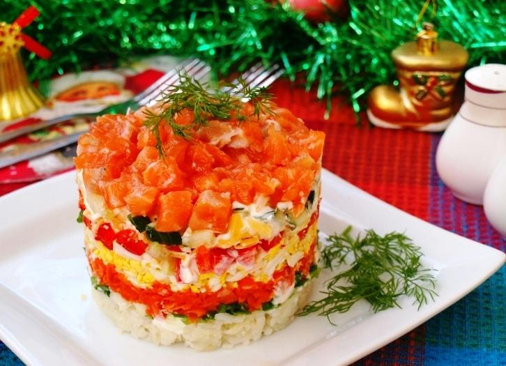 Рецепты салатов с семгой на праздничный стол