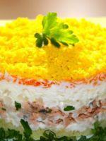 Салат мимоза пошаговый рецепт с с сайрой с сыром