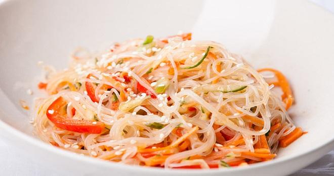 Фунчоза с курицей и овощами рецепт с салаты