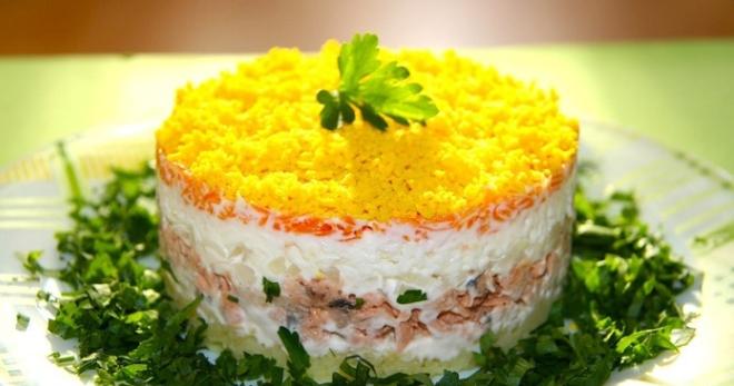 Салат мимоза рецепт с сайрой и рисом