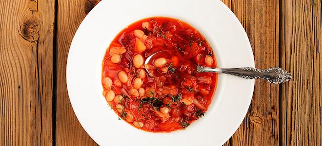 борщ с фасолью без мяса рецепт