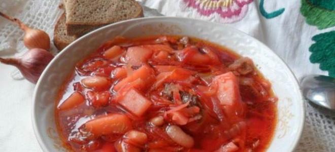 борщ с квашеной капустой и фасолью
