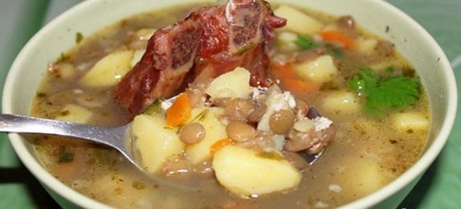 чечевичный суп с копченостями рецепт