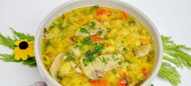 Гороховый суп с грибами без мяса