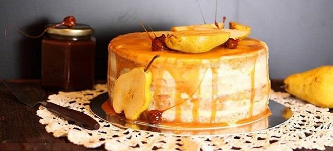 Карамельно-грушевый торт