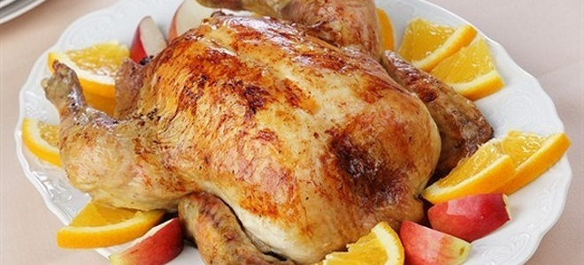 курица с яблоками и апельсинами в духовке