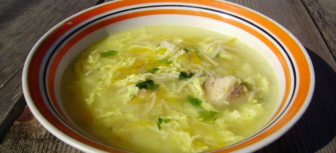 куриный суп с яйцом и вермишелью