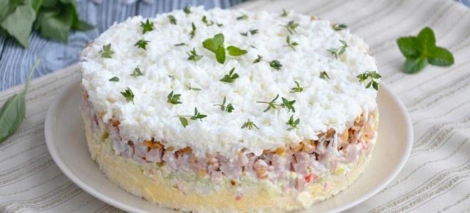 новогодний салат снежинка