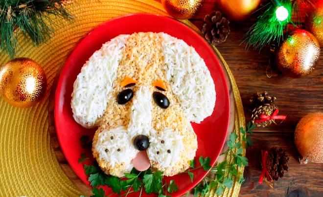 Новогодний салат «Собачка» идеи 1