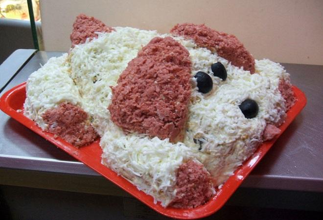 Новогодний салат «Собачка» оформление 3