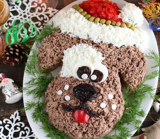 Новогодний салат «Собачка» приготовление 5