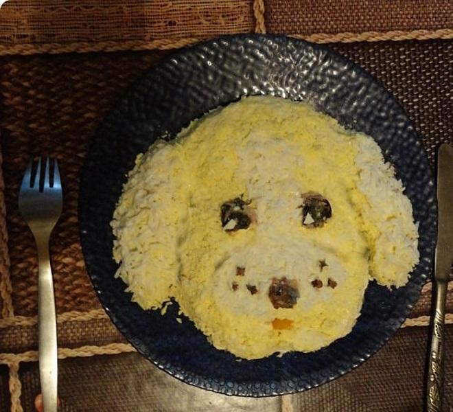 Новогодний салат «Собачка» простой 7