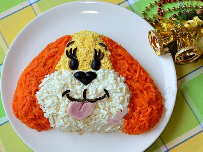 Новогодний салат «Собачка» с морковью 6