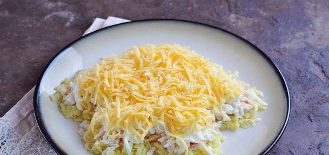 Новогодний салат «Собачка» сыр 6