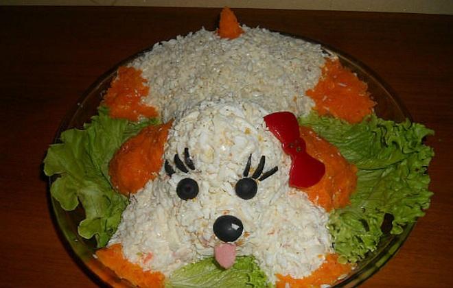 Новогодний салат «Собачка» украшение 2