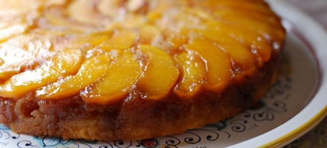 Открытый пирог с персиками свежими рецепт