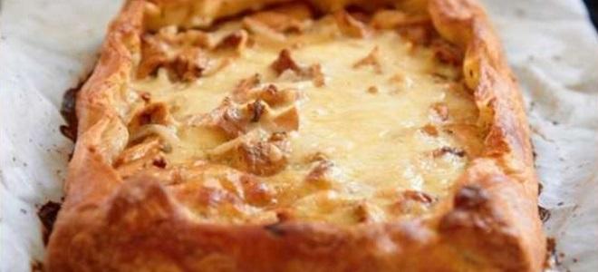 Простой рецепт пирога с грибами и курицей
