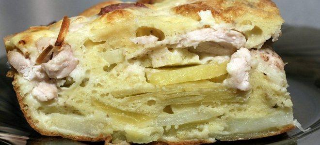 в мультиварке пирог с курицей и сыром рецепт
