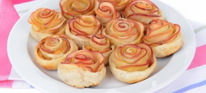 Розочки из слоеного теста с яблоками – рецепт