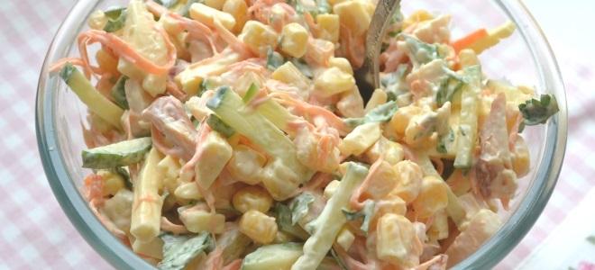 салат из корейской моркови колбасы и фасоли