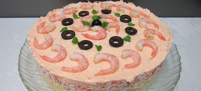 салат королевский с креветками и кальмарами