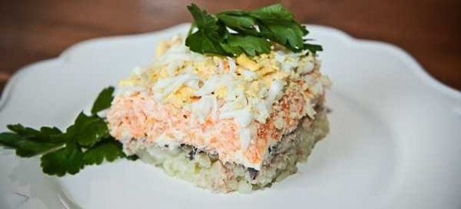 Салат мимоза с рисом и сыром рецепт