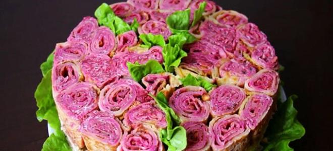 салат на праздник букет роз