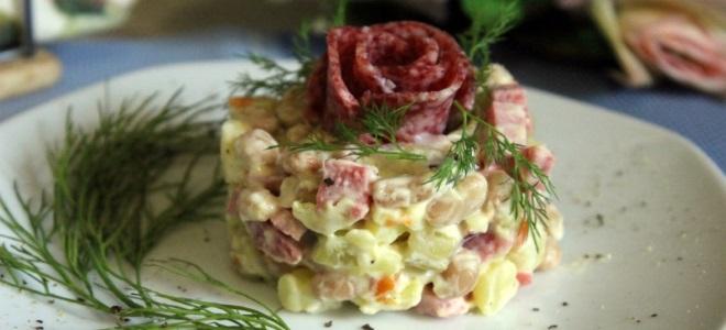 салат с картофелем фасолью и колбасой