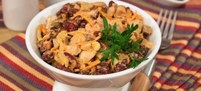 салат с печенью говяжьей и фасолью
