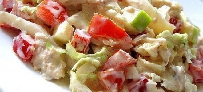 салат с цветной капустой и помидорами и майонезом