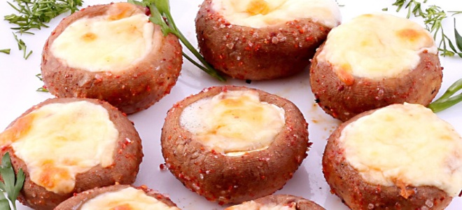 шампиньоны с сыром на мангале