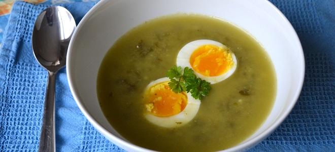 Щавелевый суп с яйцом – рецепт