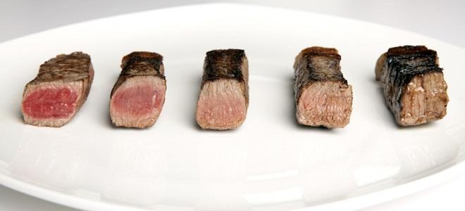 Степень прожарки стейка из говядины