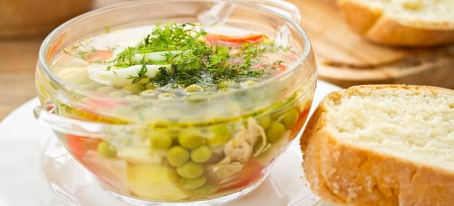 Суп из курицы с зеленым горошком