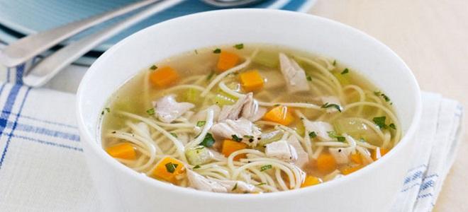 суп куриный с вермишелью и овощами