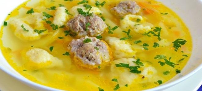 Суп с фрикадельками и галушками - рецепт