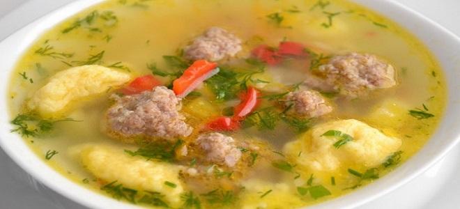 Суп с фрикадельками и клецками - рецепт