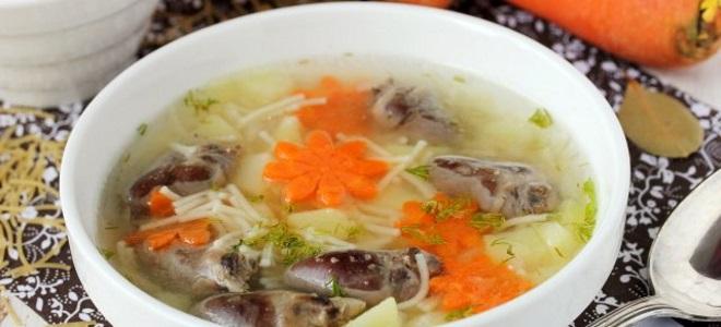 суп с сердечками куриными и вермишелью