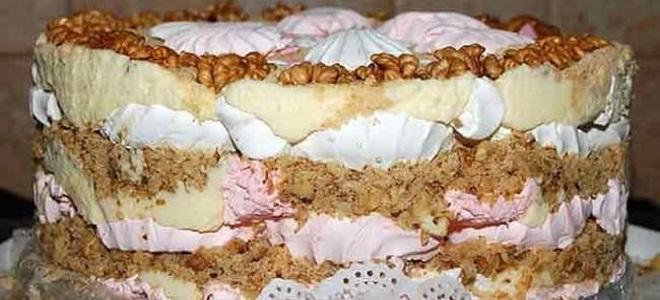 Торт из зефира со сгущенкой и печеньем