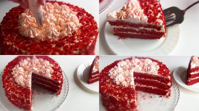 Украшение крошкой торта «Красный бархат»