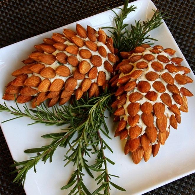 украшение салатов орехами на новый год