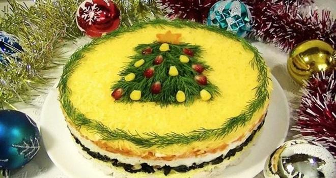 украшение салатов зеленью на новый год