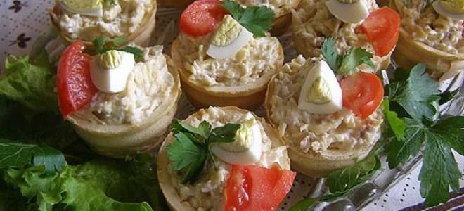 Салатов для тарталеток с красной рыбой
