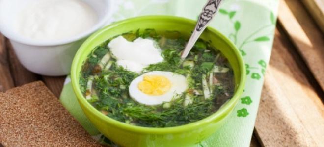 Зеленые щи с щавелем и яйцом – рецепт